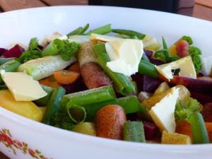 Ovnsbakte grønnsaker. Foto Kirsten Winge